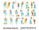 older gir and boy bullying... | Shutterstock .eps vector #1007919373
