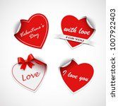 valentine red heart stickers... | Shutterstock .eps vector #1007922403