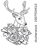 deer head with roses and leaves....