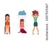 vector flat mental illness set. ... | Shutterstock .eps vector #1007925367