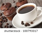 Cup Of Coffee And Chocolate Cake