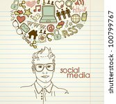 social network doodles.... | Shutterstock .eps vector #100799767