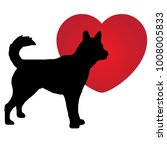 Stock vector silhouette of a dog in a red heart dog and heart 1008005833