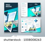 tri fold brochure design. blue...