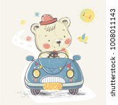 bear in car.hand drawn vector... | Shutterstock .eps vector #1008011143