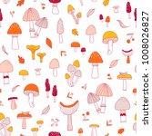 doodle mushrooms seamless... | Shutterstock .eps vector #1008026827