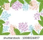 hydrangea flowers frame  vector ... | Shutterstock .eps vector #1008026857