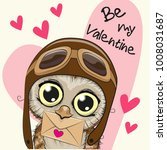 valentine card with cute...   Shutterstock .eps vector #1008031687