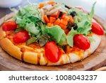 homemade vegetarian pizza with...   Shutterstock . vector #1008043237