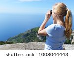 woman at top of mountain...   Shutterstock . vector #1008044443