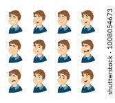 male emotions set on white... | Shutterstock . vector #1008054673