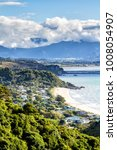 Small photo of Aerial view of a picturesque bay in Abel Tasman National Park, South Island, New Zealand