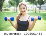 young asian girl doing exercise ...   Shutterstock . vector #1008061453