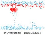 red hearts with border of blue... | Shutterstock .eps vector #1008083317