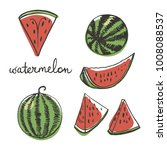 watermelon in whole and slices  ... | Shutterstock .eps vector #1008088537