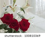 White lily and red rose on marriage - stock photo
