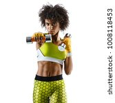 sporty woman doing boxing... | Shutterstock . vector #1008118453