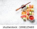 assorted sushi set on white... | Shutterstock . vector #1008125683