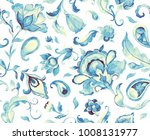 paisley watercolor floral... | Shutterstock . vector #1008131977