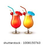 summer cocktail glasses... | Shutterstock .eps vector #1008150763