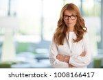attractive smiling sales woman... | Shutterstock . vector #1008166417