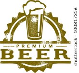 Premium Beer Vintage Style Stamp - stock vector