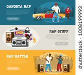 rap music 3 flat horizontal... | Shutterstock .eps vector #1008199993