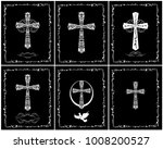 black and white catholic... | Shutterstock . vector #1008200527