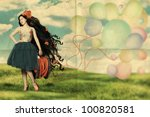 art collage with beautiful woman, retro - stock photo