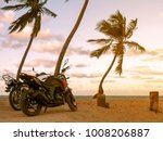 Motorcycles  Beach  With Palm...