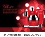 red cosmetic set with shining... | Shutterstock .eps vector #1008207913