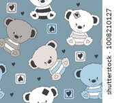 seamless pattern with teddy... | Shutterstock .eps vector #1008210127