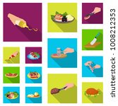 cooking food flat icons in set...   Shutterstock .eps vector #1008212353