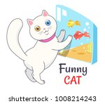 Funny White Cat Looking At...