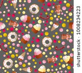 seamless pattern with ice lolly ... | Shutterstock .eps vector #1008234223