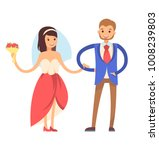 woman with veil  and man... | Shutterstock .eps vector #1008239803