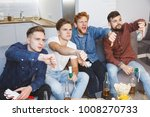 men watching sport on tv... | Shutterstock . vector #1008270733