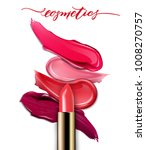 lipsticks closeup and smears... | Shutterstock .eps vector #1008270757