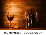 bottles with red wine and wine... | Shutterstock . vector #1008270907