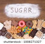 food containing sugar  top view.... | Shutterstock . vector #1008271327