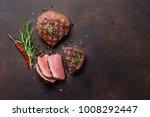 grilled fillet steaks. top view ... | Shutterstock . vector #1008292447