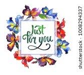 wildflower iris flower wreath... | Shutterstock . vector #1008294337