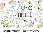 hand drawn vector spring... | Shutterstock .eps vector #1008297997