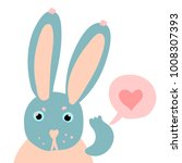 happy valentine cute rabbit... | Shutterstock .eps vector #1008307393