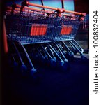 a lomography of shopping carts - stock photo
