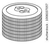heap of coin icon. outline... | Shutterstock . vector #1008337057