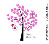 valentines day birds with tree... | Shutterstock .eps vector #1008355813