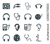 listen icons. set of 16... | Shutterstock .eps vector #1008370003
