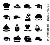 hat icons. set of 16 editable... | Shutterstock .eps vector #1008375787