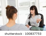a business woman with a... | Shutterstock . vector #100837753